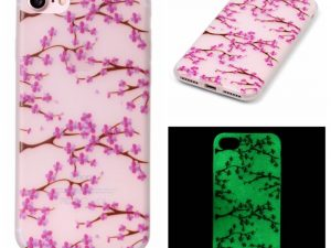 "iPhone 7 4,7"" Skal Glow in the dark - Plum Flowers"