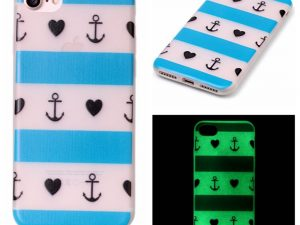 iPhone 7 / iPhone 8 Skal Glow in the dark - Anchor Heart Stripe