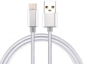 1 Meter USB-C kabel Nylon Metallic - Vit