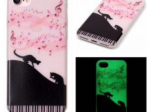 "iPhone 7 4,7"" Skal Glow in the dark - Cats and Music"
