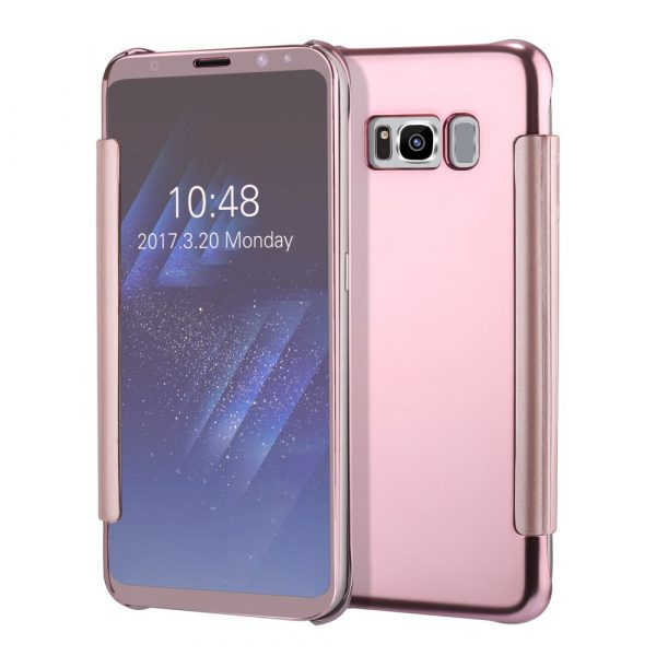 Samsung Galaxy S8 Plus Plated Mirror Smart View Skal - Rose Gold