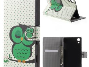 Sony Xperia Z3+ E6553 Green Napping Owl Plånboksfodral
