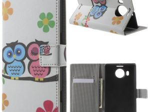 Microsoft Lumia 950 XL Plånboksfodral Owl Lover and Flower