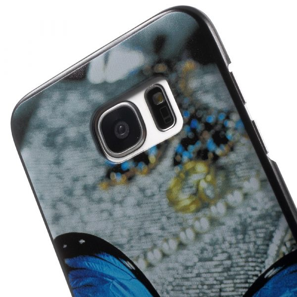 Samsung Galaxy S7 Edge Frosted Skal - Blue Butterfly