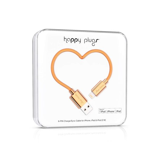 HAPPY PLUGS 2m Lightning kabel MFI till iPhone/iPad - Rose Gold