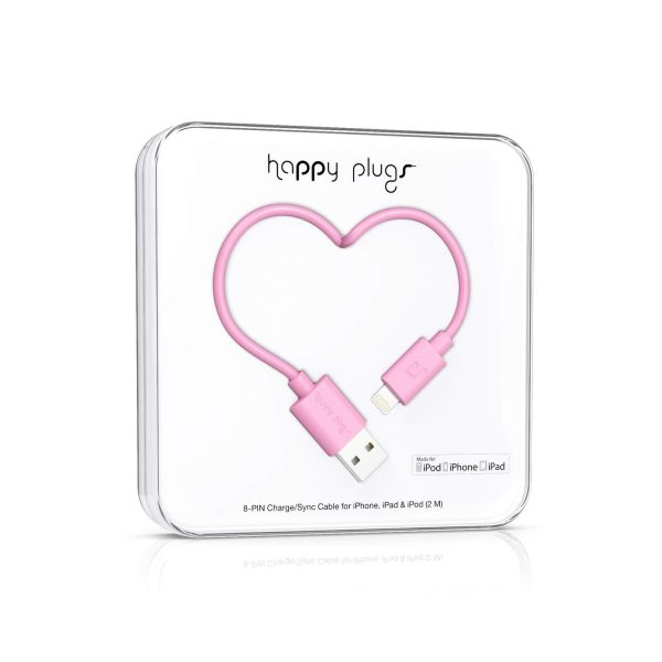 HAPPY PLUGS 2m Lightning kabel MFI till iPhone/iPad - Rose